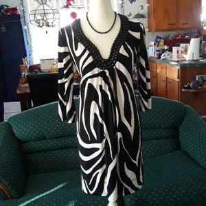 Zebra patterned w beaded neck womens dress